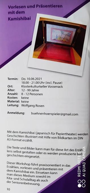 Vorlesen und präsentieren mit dem Kamishibai @ Klosterkulturkeller Vossenack